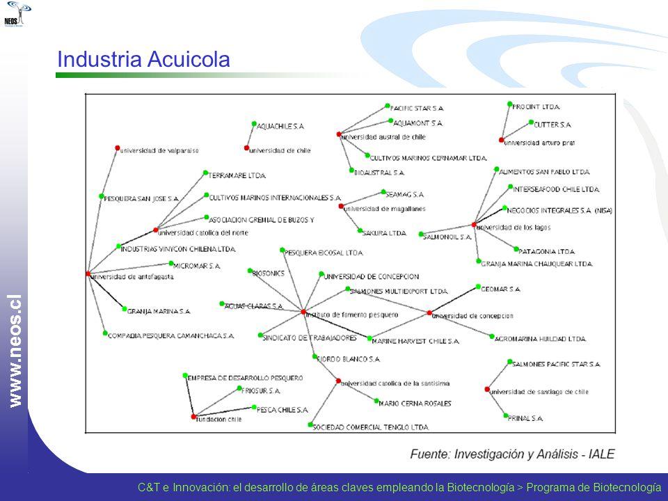 w w w. n e o s. c l Industria Acuicola C&T e Innovación: el desarrollo de áreas claves empleando la Biotecnología > Programa de Biotecnología