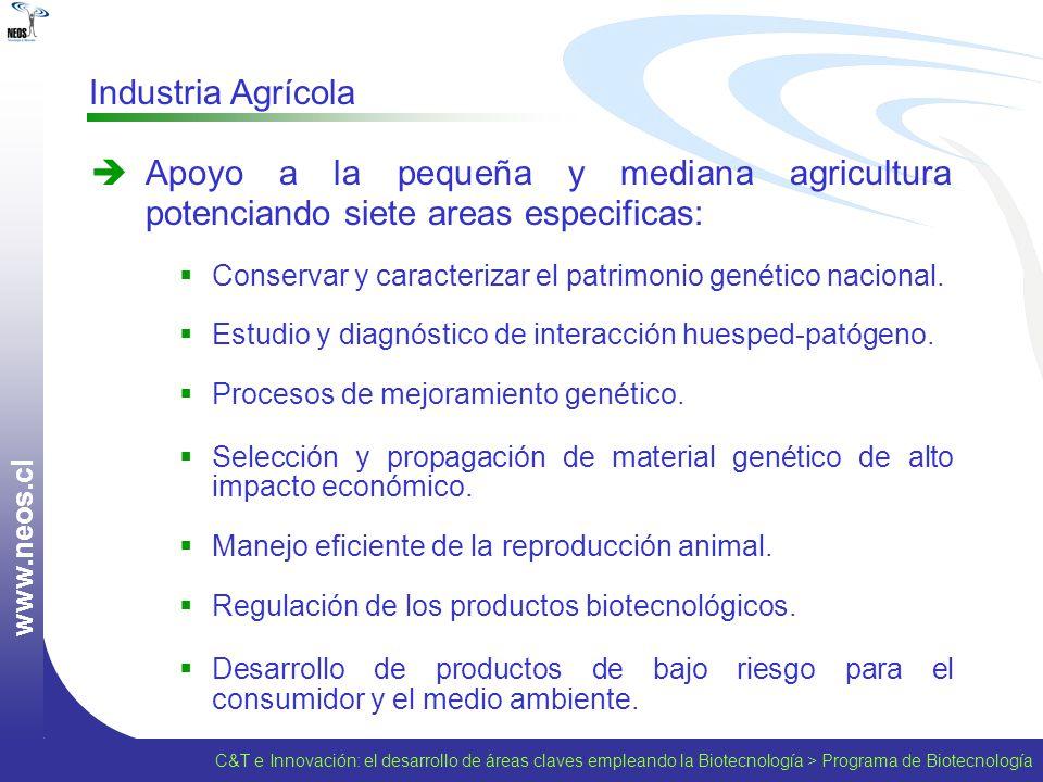 w w w. n e o s. c l Industria Agrícola Apoyo a la pequeña y mediana agricultura potenciando siete areas especificas: Conservar y caracterizar el patri