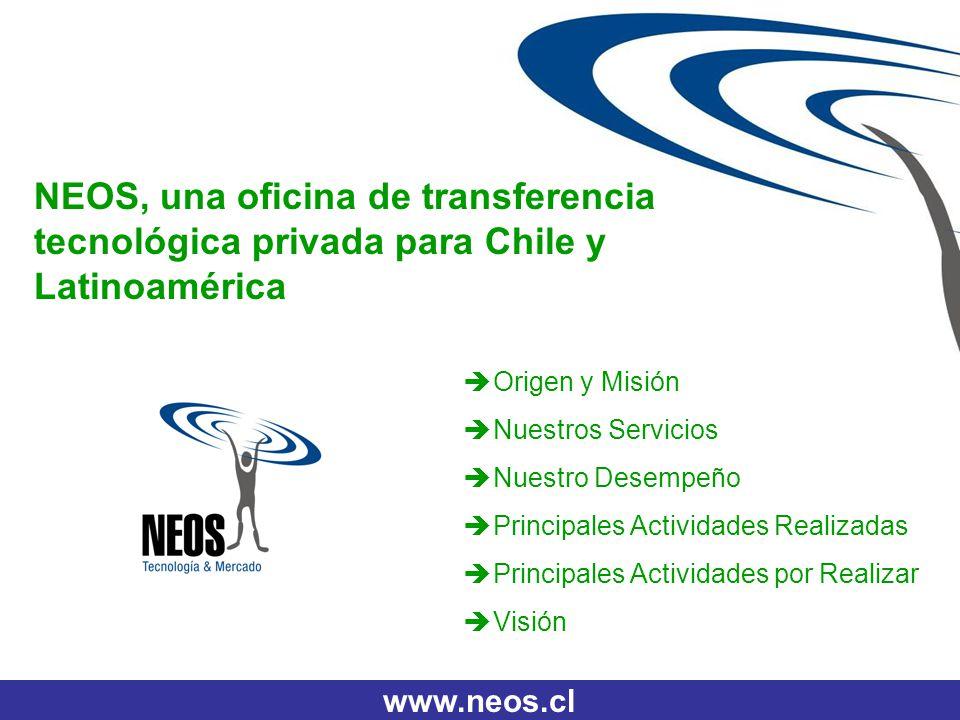 www.neos.cl NEOS, una oficina de transferencia tecnológica privada para Chile y Latinoamérica Origen y Misión Nuestros Servicios Nuestro Desempeño Pri