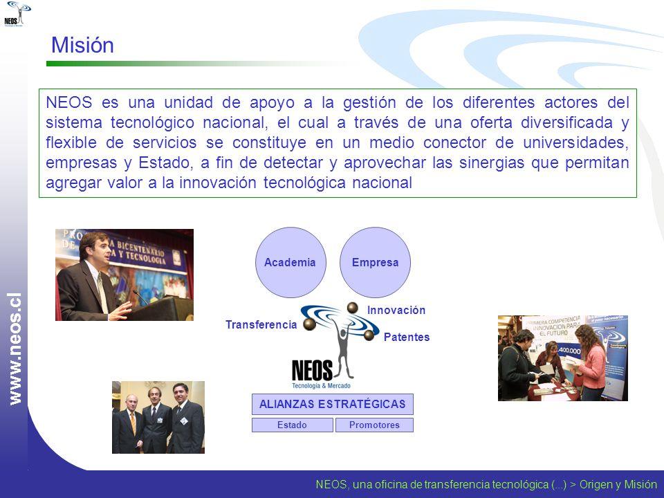 NEOS, una oficina de transferencia tecnológica (...) > Origen y Misión w w w. n e o s. c l Misión NEOS es una unidad de apoyo a la gestión de los dife