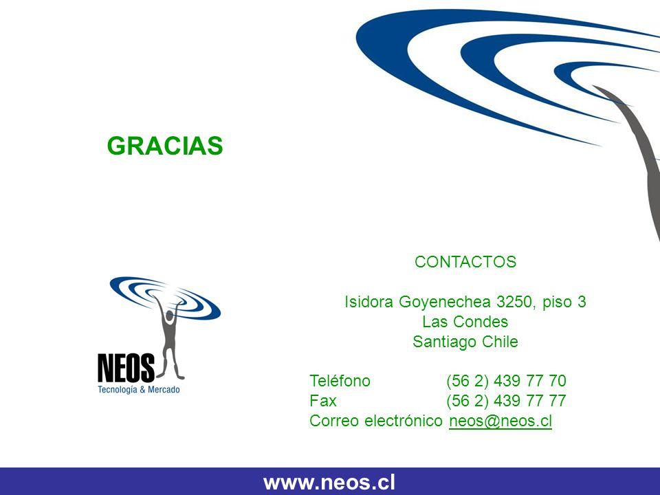 CONTACTOS Isidora Goyenechea 3250, piso 3 Las Condes Santiago Chile Teléfono (56 2) 439 77 70 Fax (56 2) 439 77 77 Correo electrónico neos@neos.cl www