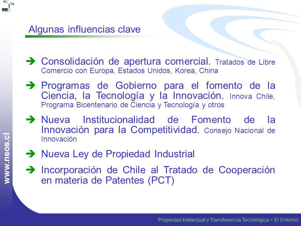 Propiedad Intelectual y Transferencia Tecnológica > El Entorno w w w. n e o s. c l Consolidación de apertura comercial. Tratados de Libre Comercio con