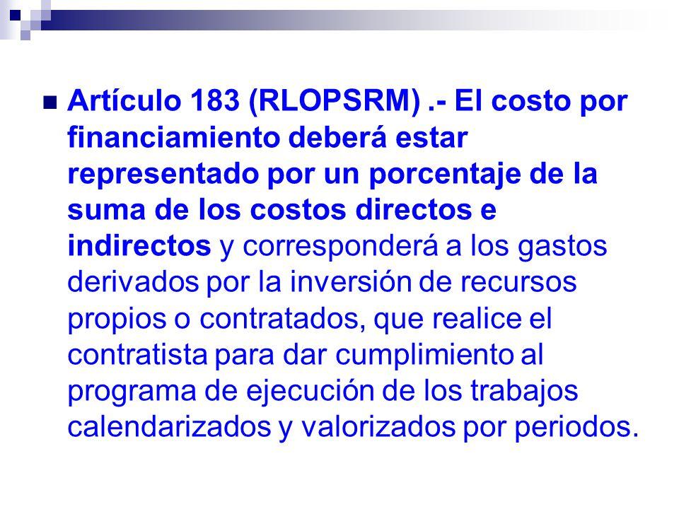 Artículo 183 (RLOPSRM).- El costo por financiamiento deberá estar representado por un porcentaje de la suma de los costos directos e indirectos y corr