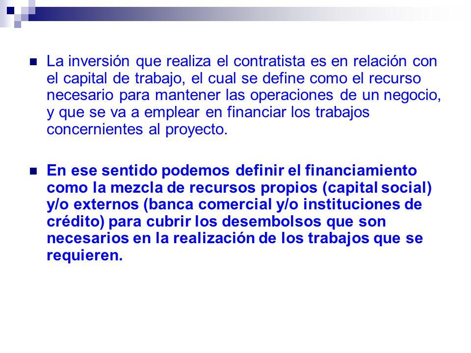 La inversión que realiza el contratista es en relación con el capital de trabajo, el cual se define como el recurso necesario para mantener las operac