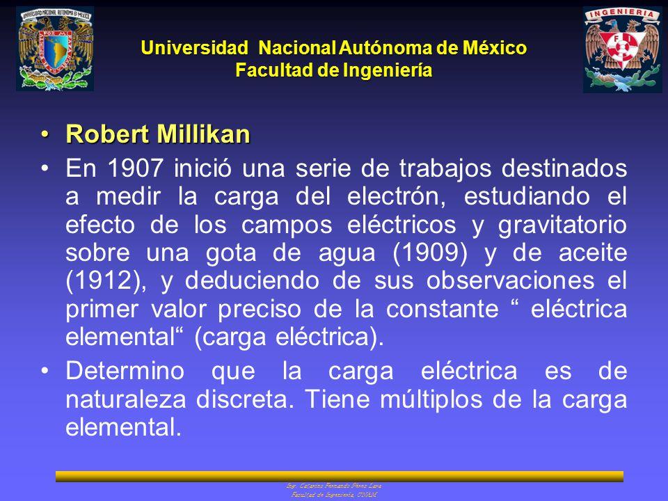 Universidad Nacional Autónoma de México Facultad de Ingeniería Ing. Catarino Fernando Pérez Lara Facultad de Ingeniería, UNAM Robert MillikanRobert Mi