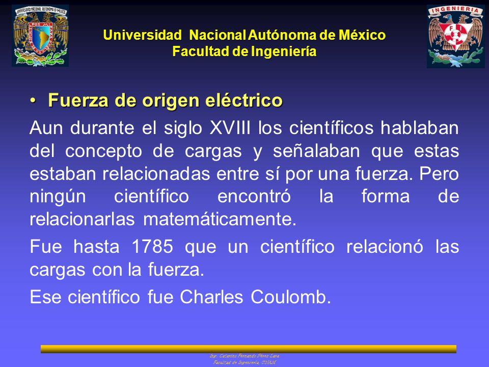 Universidad Nacional Autónoma de México Facultad de Ingeniería Ing. Catarino Fernando Pérez Lara Facultad de Ingeniería, UNAM Fuerza de origen eléctri