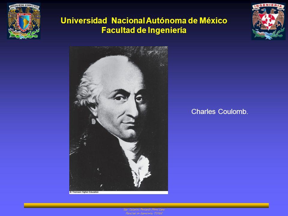 Universidad Nacional Autónoma de México Facultad de Ingeniería Ing. Catarino Fernando Pérez Lara Facultad de Ingeniería, UNAM Charles Coulomb.