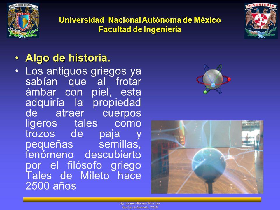 Universidad Nacional Autónoma de México Facultad de Ingeniería Ing. Catarino Fernando Pérez Lara Facultad de Ingeniería, UNAM Algo de historia.Algo de