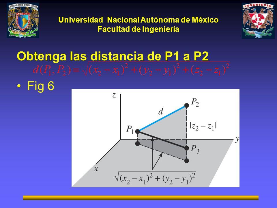 Universidad Nacional Autónoma de México Facultad de Ingeniería Obtenga las distancia de P1 a P2 Fig 6