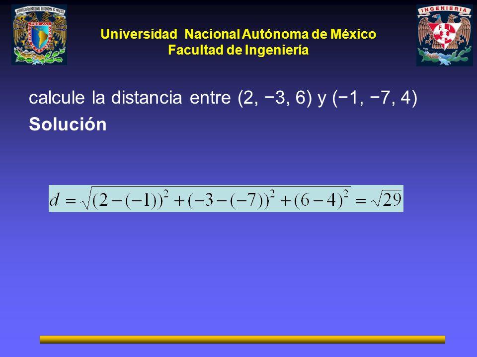 Universidad Nacional Autónoma de México Facultad de Ingeniería calcule la distancia entre (2, 3, 6) y (1, 7, 4) Solución