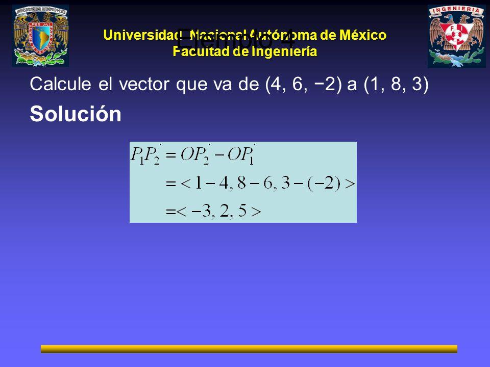 Universidad Nacional Autónoma de México Facultad de Ingeniería Ejemplo 4 Calcule el vector que va de (4, 6, 2) a (1, 8, 3) Solución