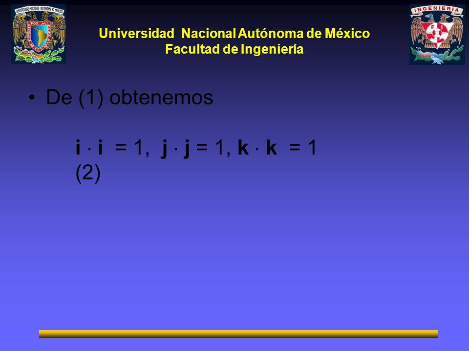 Universidad Nacional Autónoma de México Facultad de Ingeniería 1 De (1) obtenemos i i = 1, j j = 1, k k = 1 (2)