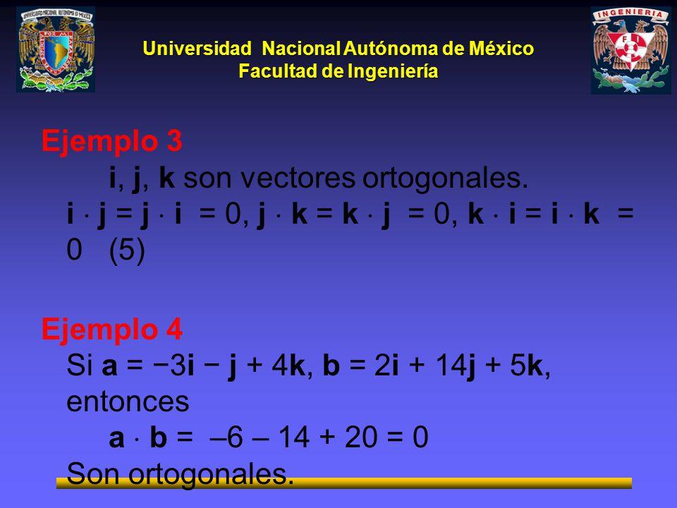 Universidad Nacional Autónoma de México Facultad de Ingeniería Ejemplo 3 i, j, k son vectores ortogonales. i j = j i = 0, j k = k j = 0, k i = i k = 0