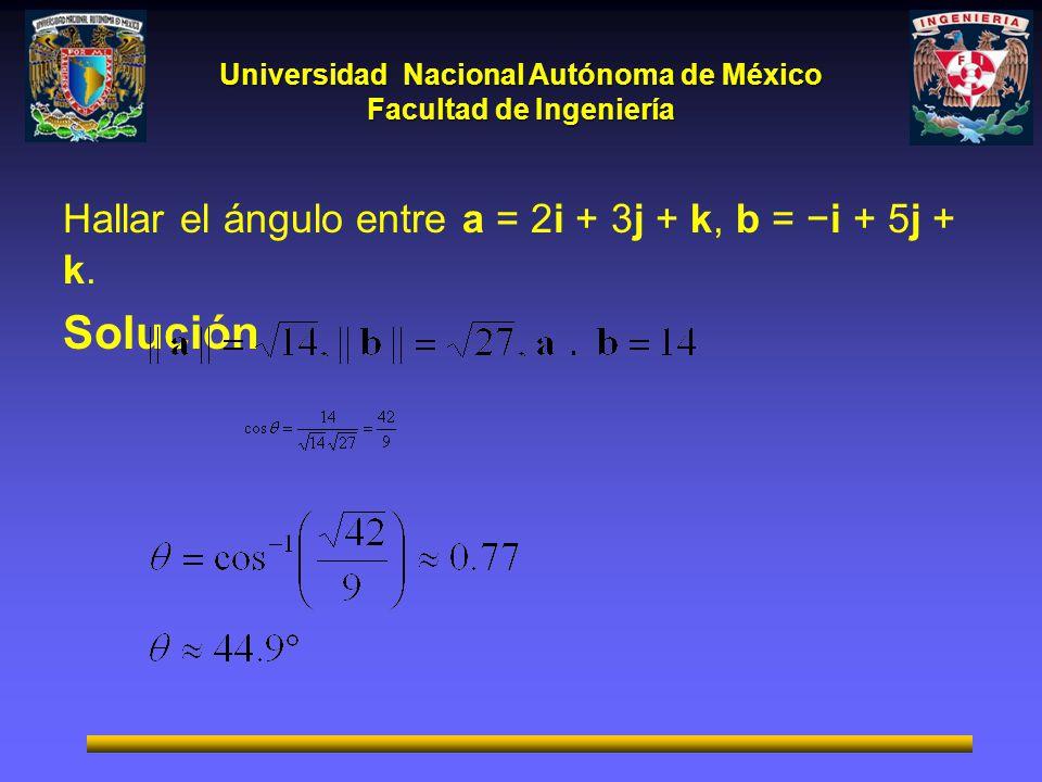 Universidad Nacional Autónoma de México Facultad de Ingeniería Hallar el ángulo entre a = 2i + 3j + k, b = i + 5j + k. Solución