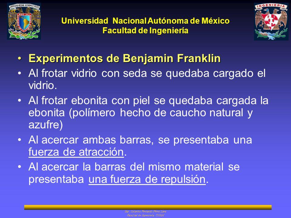 Universidad Nacional Autónoma de México Facultad de Ingeniería Ing. Catarino Fernando Pérez Lara Facultad de Ingeniería, UNAM Experimentos de Benjamin