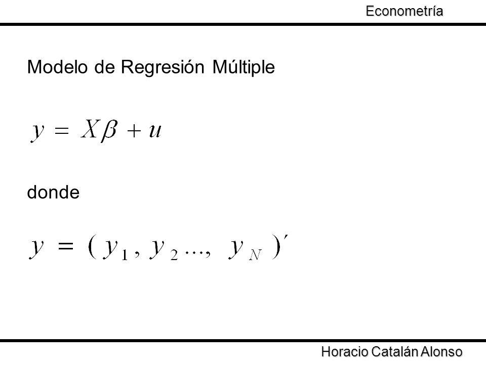 Modelo de Regresión Múltiple donde Horacio Catalán Alonso Econometría