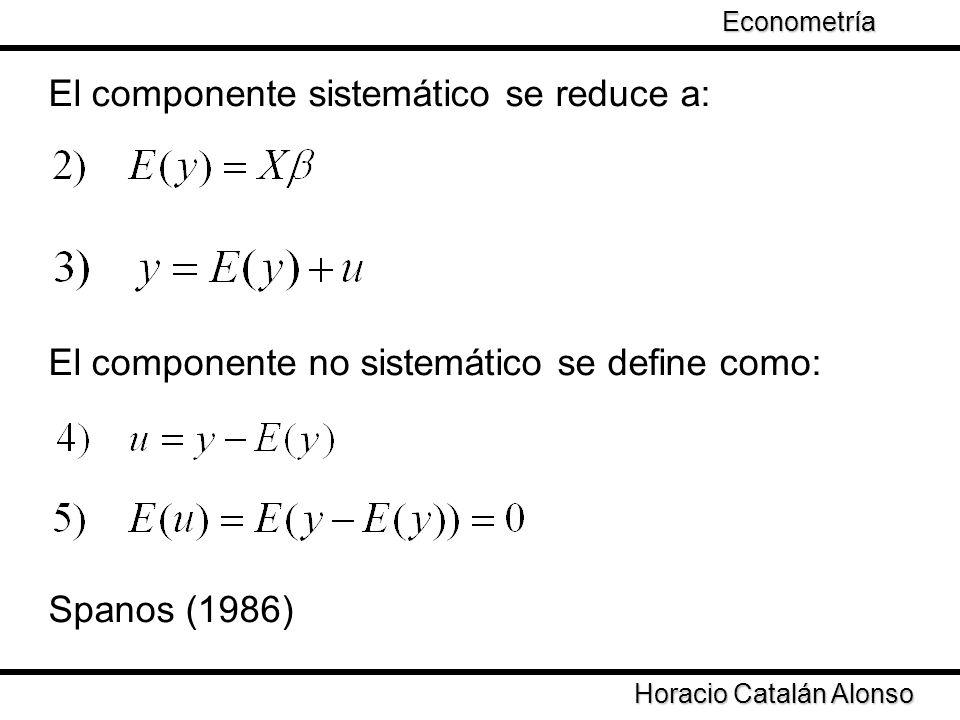 Taller de Econometría Horacio Catalán Alonso Econometría El componente sistemático se reduce a: El componente no sistemático se define como: Spanos (1