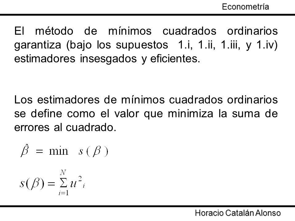 Taller de Econometría Horacio Catalán Alonso Econometría El método de mínimos cuadrados ordinarios garantiza (bajo los supuestos 1.i, 1.ii, 1.iii, y 1