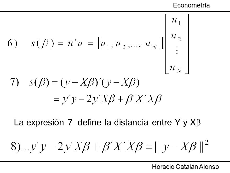 Taller de Econometría Horacio Catalán Alonso Econometría La expresión 7 define la distancia entre Y y X