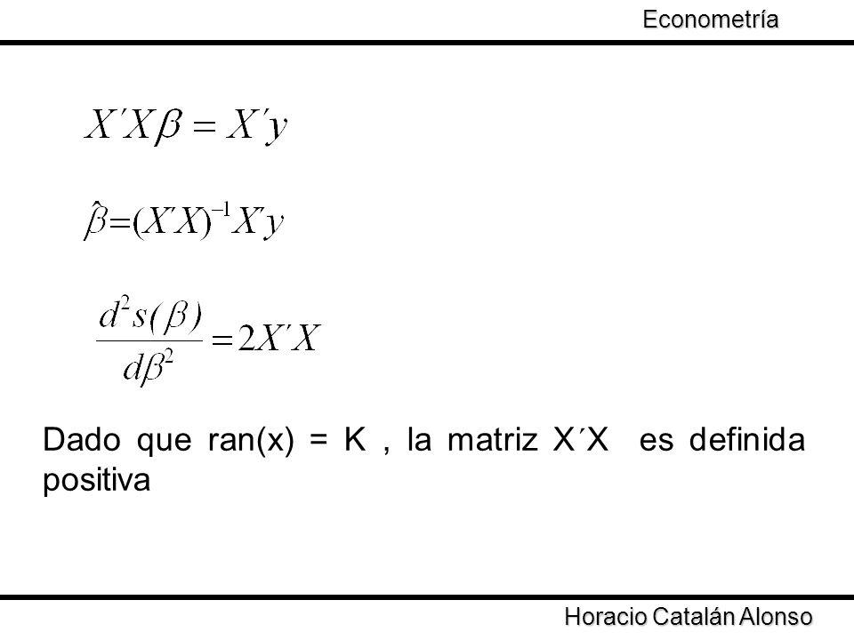 Taller de Econometría Horacio Catalán Alonso Econometría Dado que ran(x) = K, la matriz X´X es definida positiva