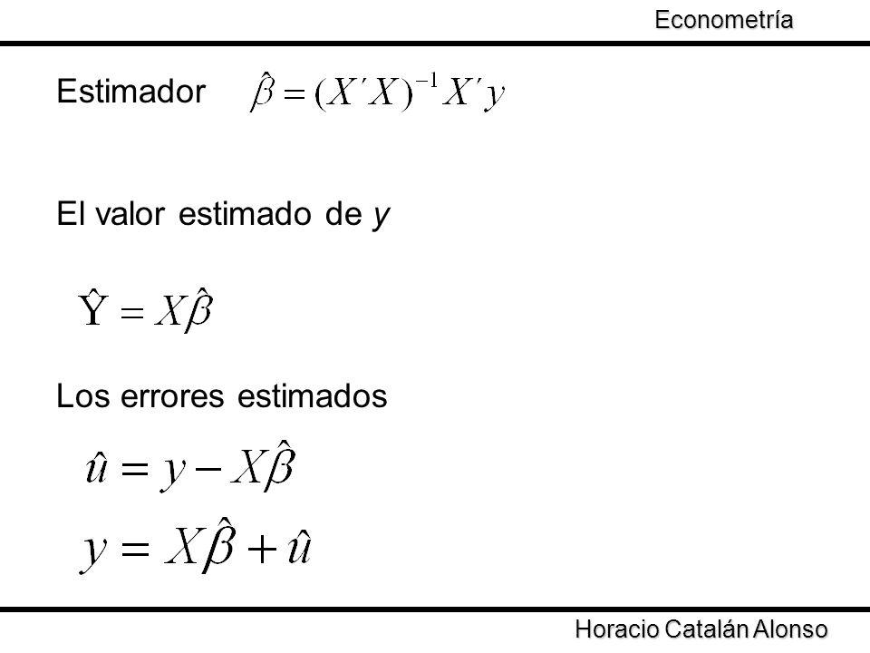 Taller de Econometría Horacio Catalán Alonso Econometría Estimador El valor estimado de y Los errores estimados