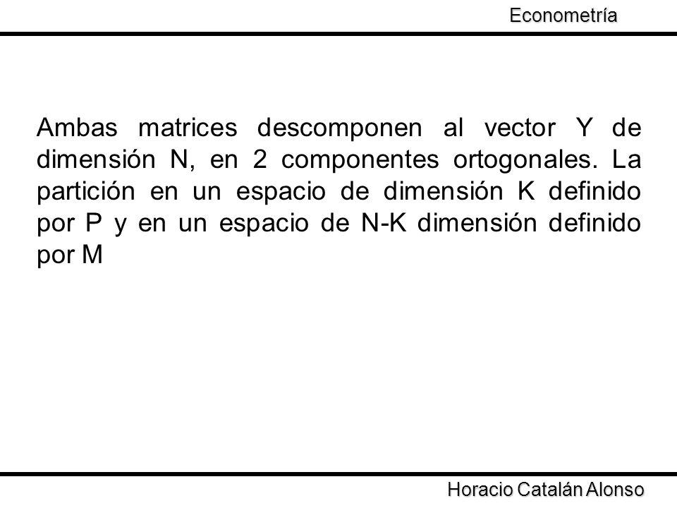 Taller de Econometría Horacio Catalán Alonso Econometría Ambas matrices descomponen al vector Y de dimensión N, en 2 componentes ortogonales. La parti