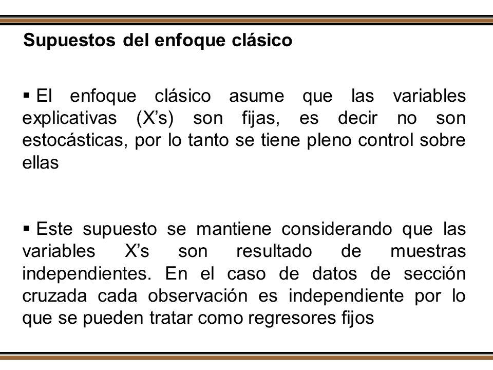 Supuestos del enfoque clásico El enfoque clásico asume que las variables explicativas (Xs) son fijas, es decir no son estocásticas, por lo tanto se ti