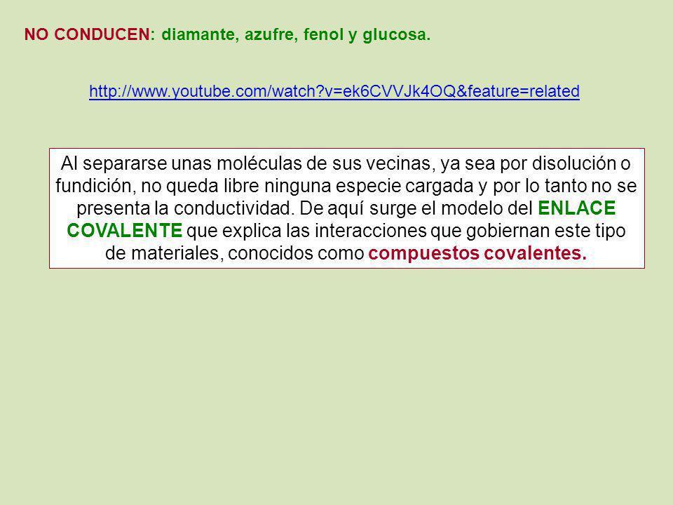 NO CONDUCEN: diamante, azufre, fenol y glucosa. http://www.youtube.com/watch?v=ek6CVVJk4OQ&feature=related Al separarse unas moléculas de sus vecinas,