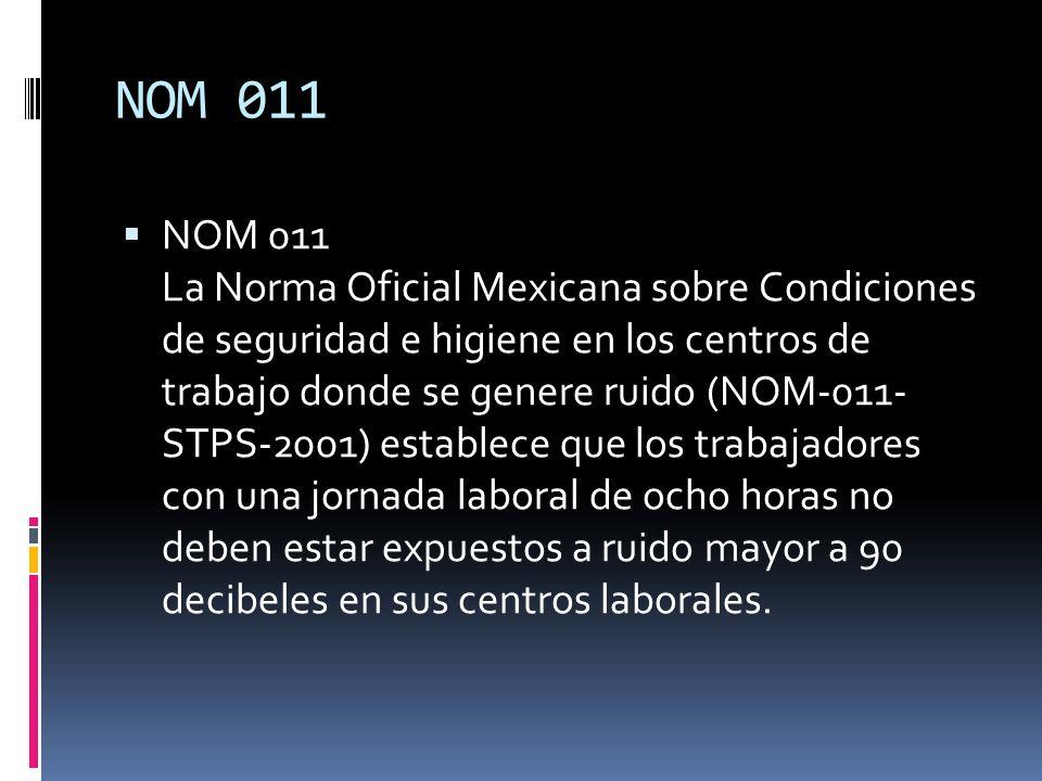 NOM 011 NOM 011 La Norma Oficial Mexicana sobre Condiciones de seguridad e higiene en los centros de trabajo donde se genere ruido (NOM-011- STPS-2001