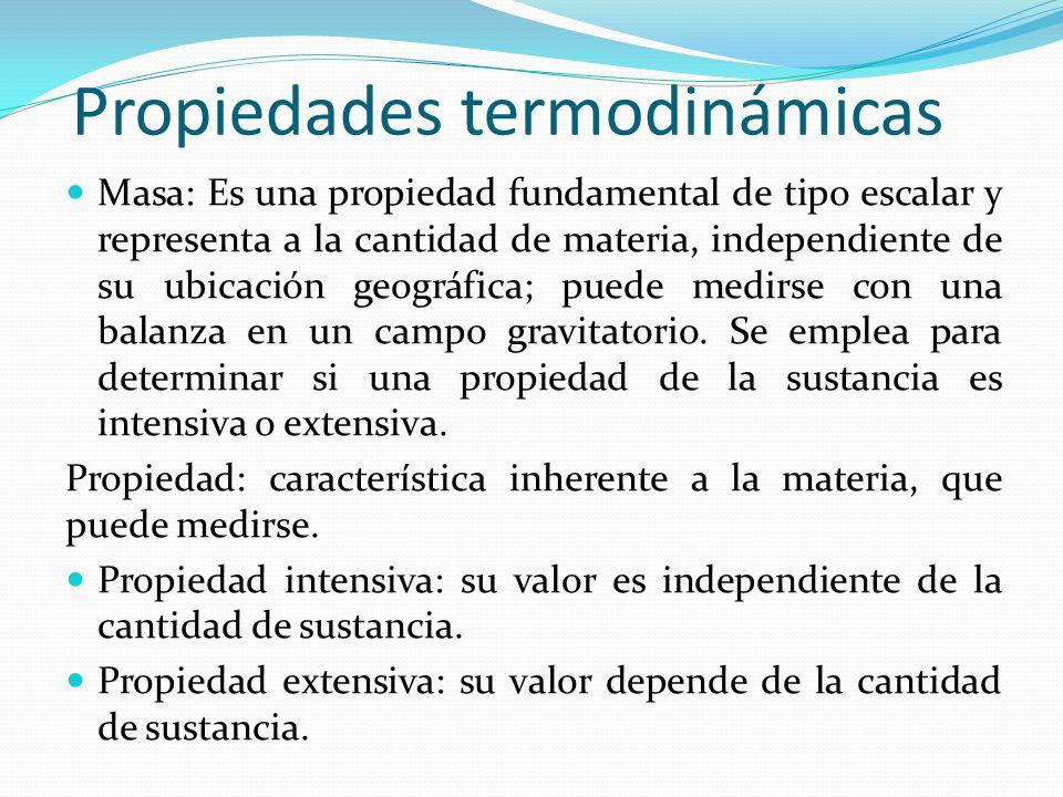 Ejemplos de propiedades Propiedades extensivas: Volumen, peso, energía cinética, energía potencial gravitatoria.
