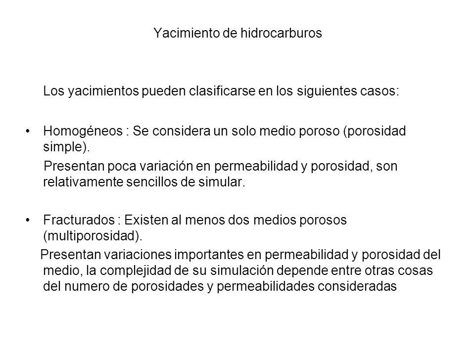 Los yacimientos pueden clasificarse en los siguientes casos: Homogéneos : Se considera un solo medio poroso (porosidad simple).