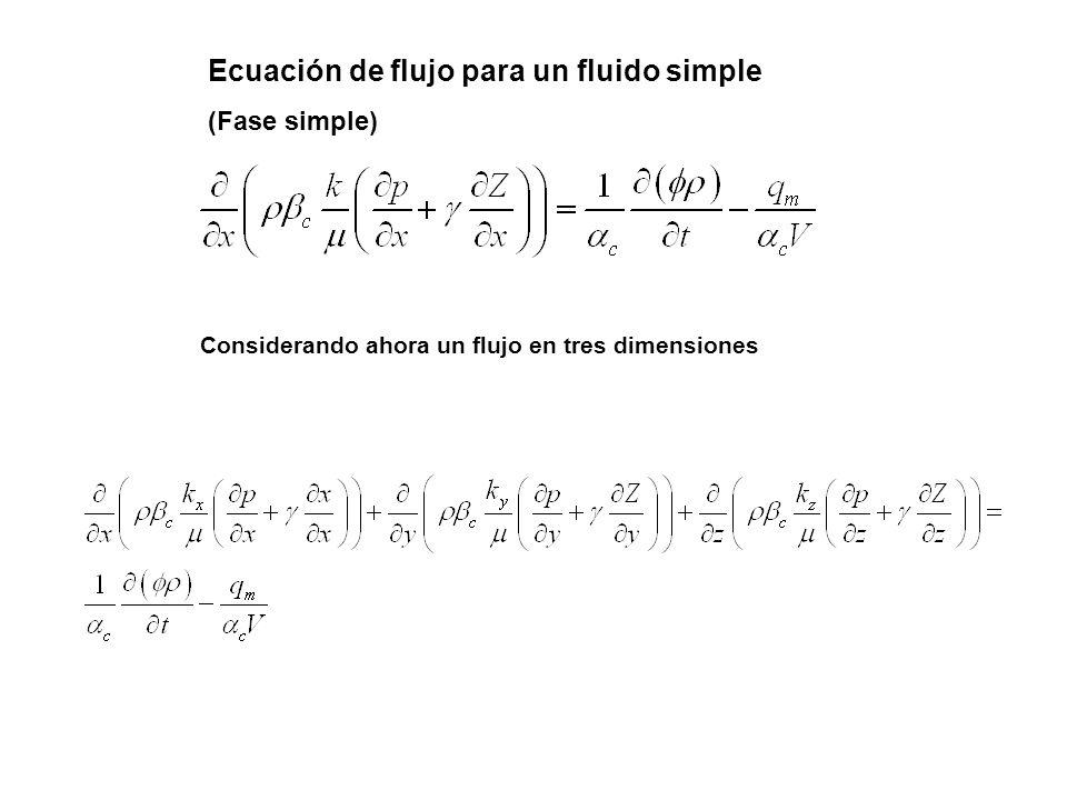 Ecuación de flujo para un fluido simple (Fase simple) Considerando ahora un flujo en tres dimensiones