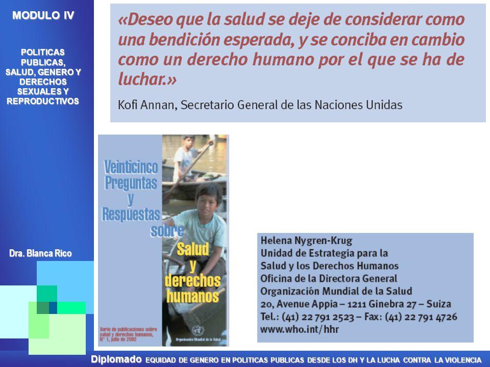 Diplomado EQUIDAD DE GENERO EN POLITICAS PUBLICAS DESDE LOS DH Y LA LUCHA CONTRA LA VIOLENCIA MODULO IV POLITICAS PUBLICAS, SALUD, GENERO Y DERECHOS S
