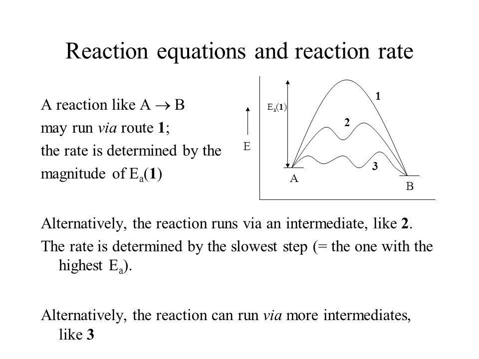 Reaction equations and reaction rate A reaction like A B may run via route 1; the rate is determined by the magnitude of E a (1) Alternatively, the re