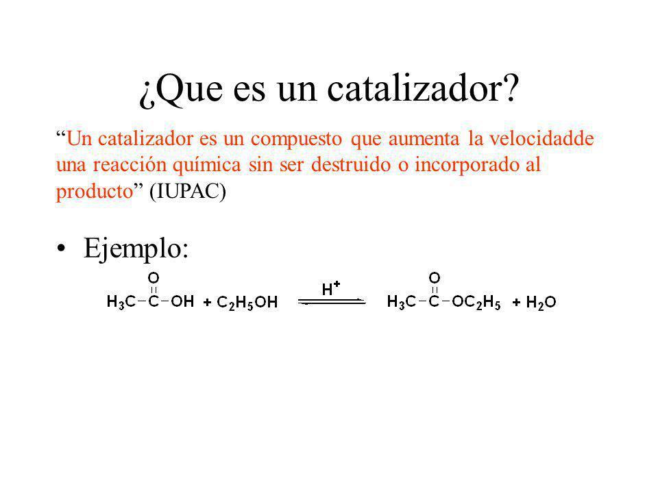 Ejemplo: Un catalizador es un compuesto que aumenta la velocidadde una reacción química sin ser destruido o incorporado al producto (IUPAC) ¿Que es un