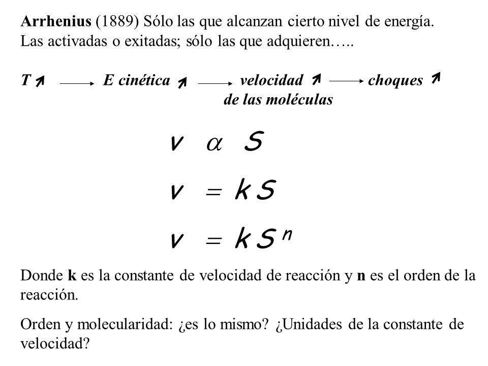 Arrhenius (1889) Sólo las que alcanzan cierto nivel de energía. Las activadas o exitadas; sólo las que adquieren….. T E cinética velocidad choques de
