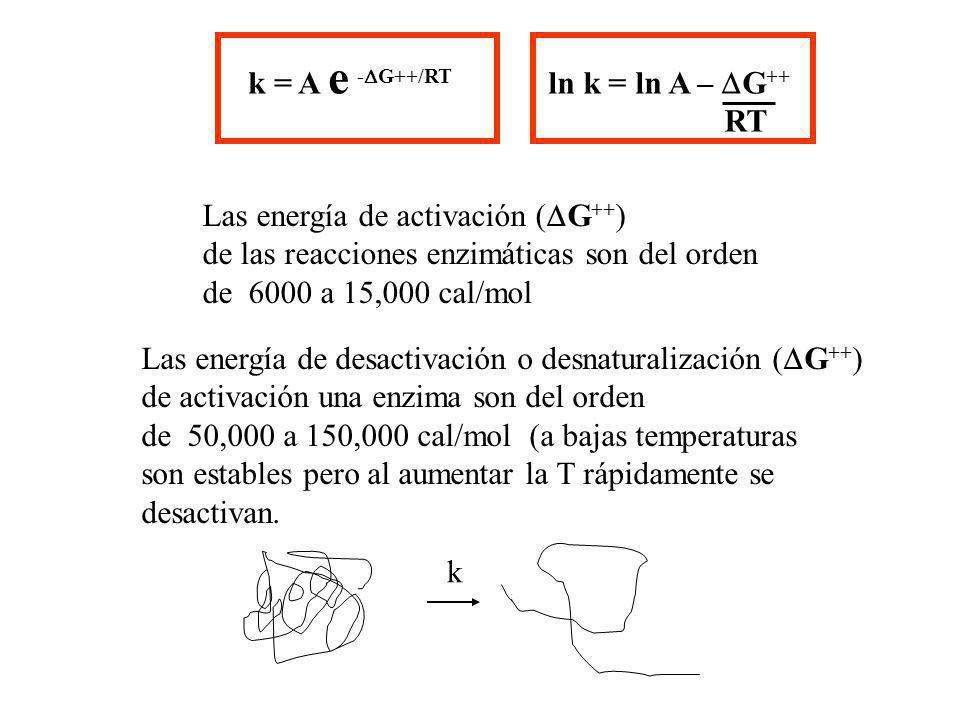 k = A e - G++/RT Las energía de activación ( G ++ ) de las reacciones enzimáticas son del orden de 6000 a 15,000 cal/mol Las energía de desactivación
