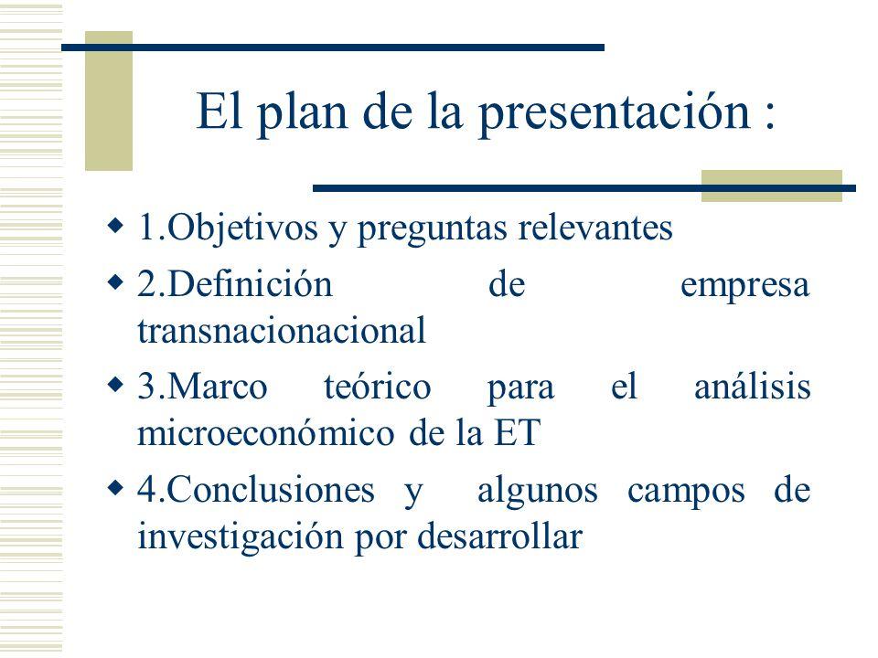 El plan de la presentación : 1.Objetivos y preguntas relevantes 2.Definición de empresa transnacionacional 3.Marco teórico para el análisis microeconómico de la ET 4.Conclusiones y algunos campos de investigación por desarrollar