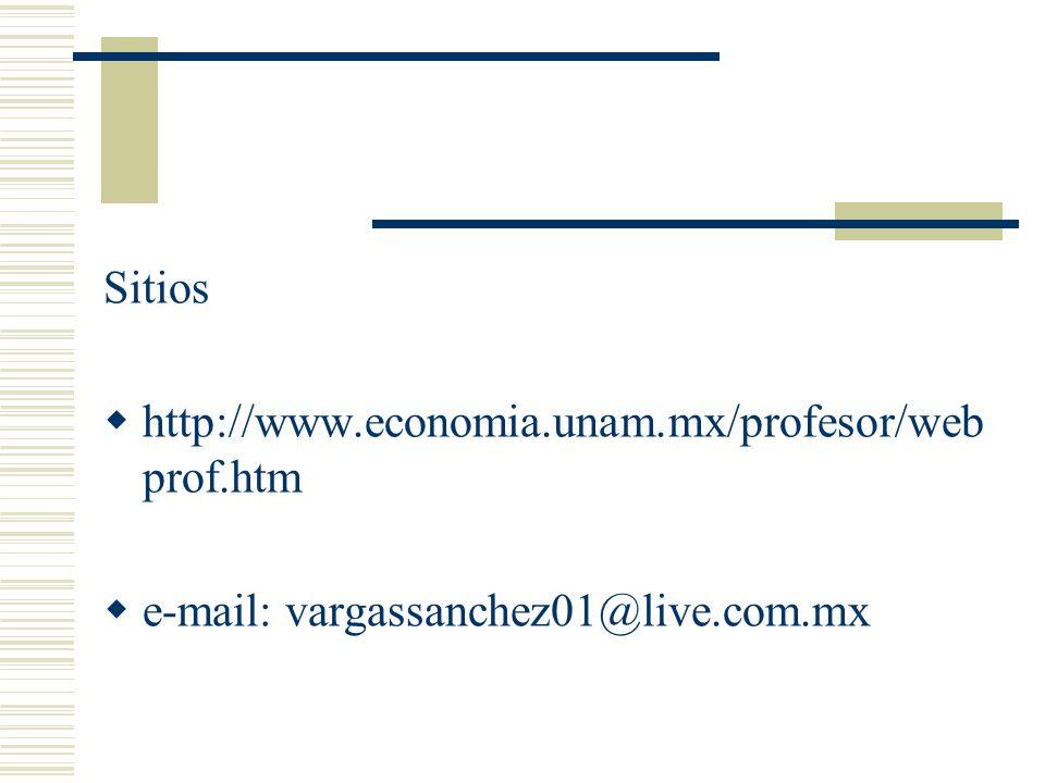 Sitios http://www.economia.unam.mx/profesor/web prof.htm e-mail: vargassanchez01@live.com.mx