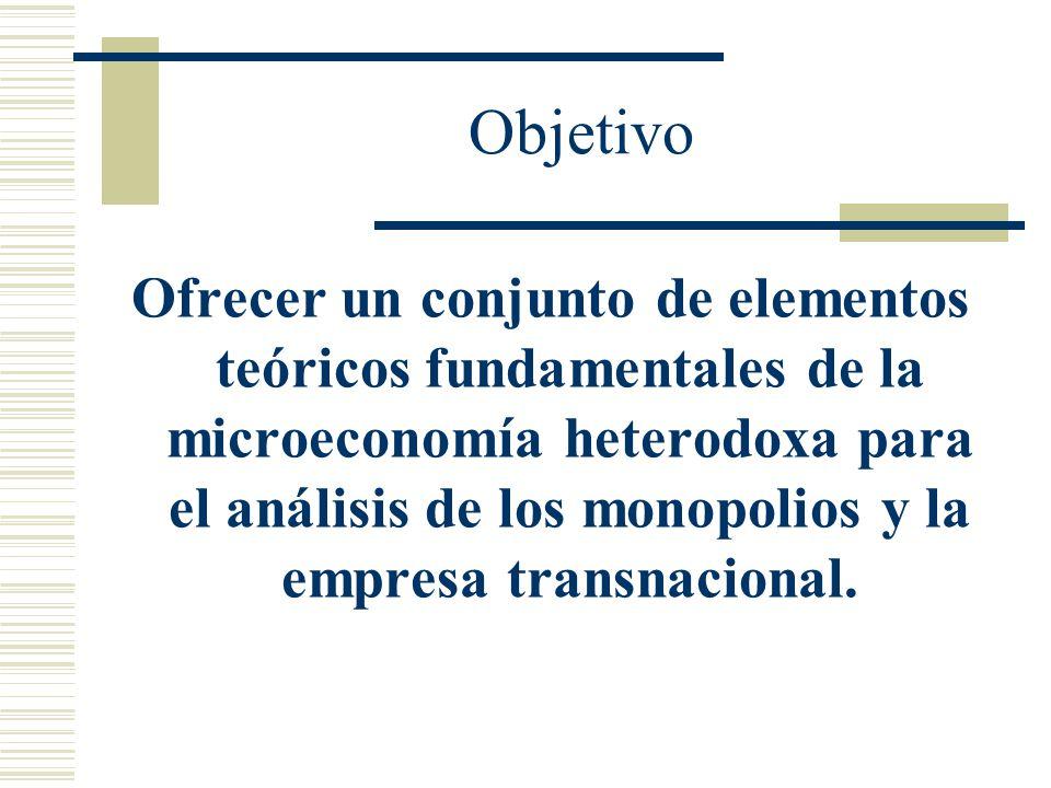 Objetivo Ofrecer un conjunto de elementos teóricos fundamentales de la microeconomía heterodoxa para el análisis de los monopolios y la empresa transnacional.