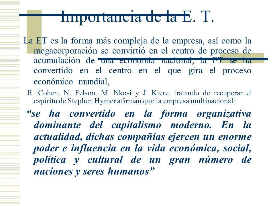 Importancia de la E. T. La ET es la forma más compleja de la empresa, así como la megacorporación se convirtió en el centro de proceso de acumulación