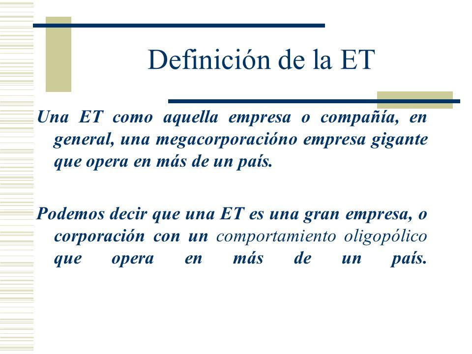 Definición de la ET Una ET como aquella empresa o compañía, en general, una megacorporacióno empresa gigante que opera en más de un país. Podemos deci