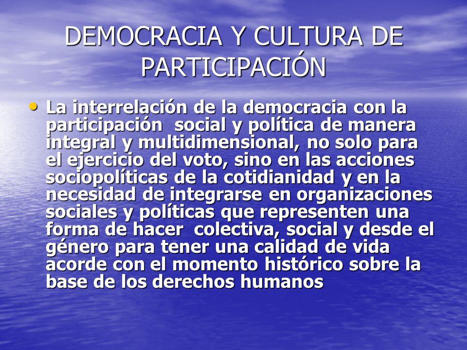 DEMOCRACIA Y CULTURA DE PARTICIPACIÓN La interrelación de la democracia con la participación social y política de manera integral y multidimensional,