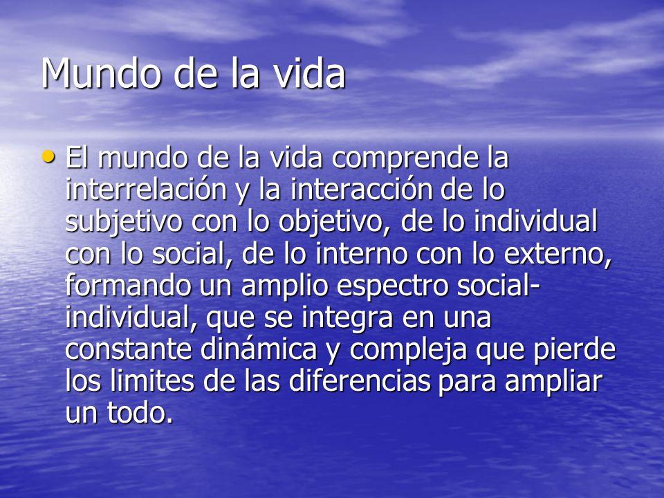 Mundo de la vida El mundo de la vida comprende la interrelación y la interacción de lo subjetivo con lo objetivo, de lo individual con lo social, de l