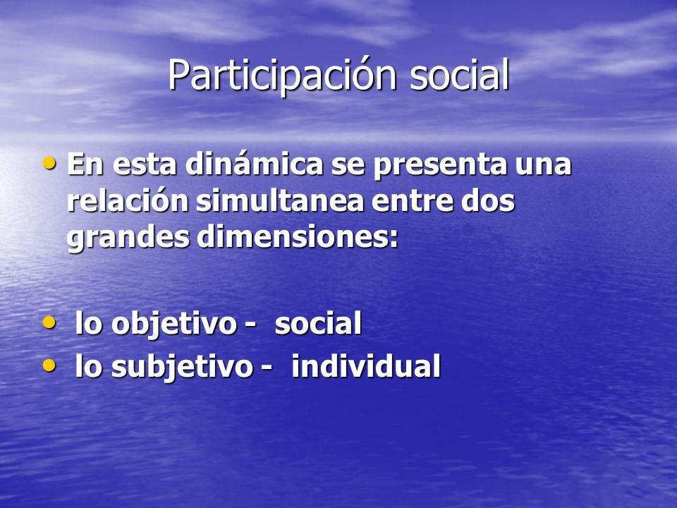 Participación social En esta dinámica se presenta una relación simultanea entre dos grandes dimensiones: En esta dinámica se presenta una relación sim