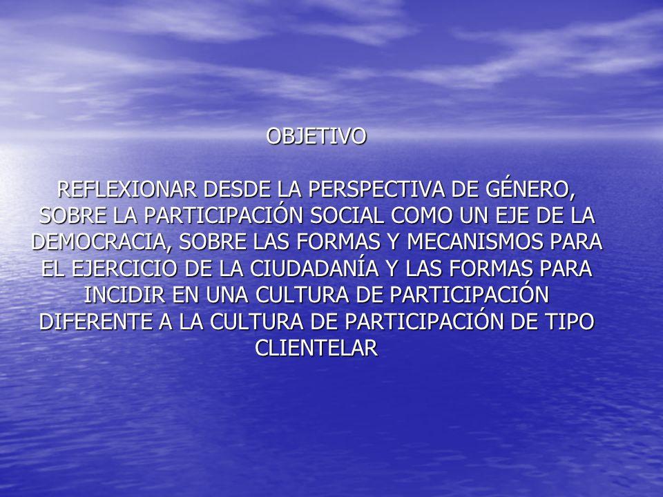 DIMENSIONES DE LA REFLEXIÓN DEMOCRACIA DEMOCRACIA PARTICIPACIÓN SOCIAL Y CULTURA DE PARTICIPACIÓN PARTICIPACIÓN SOCIAL Y CULTURA DE PARTICIPACIÓN CIUDADANÍA Y CONSTRUCCIÓN DE CIUDADANÍA CIUDADANÍA Y CONSTRUCCIÓN DE CIUDADANÍA PERSPECTIVA DE GÉNERO PERSPECTIVA DE GÉNERO