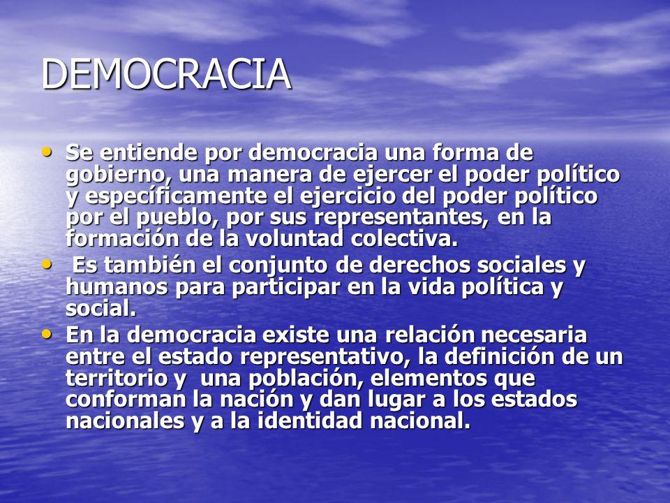 DEMOCRACIA La democracia se presenta en la esfera política y en la esfera social, en la primera el individuo se toma en cuenta como ciudadano con derechos y obligaciones, en la segunda se consideran los roles que se desempeñan en la relación social, con el mercado y el papel en las relaciones sociales de producción.