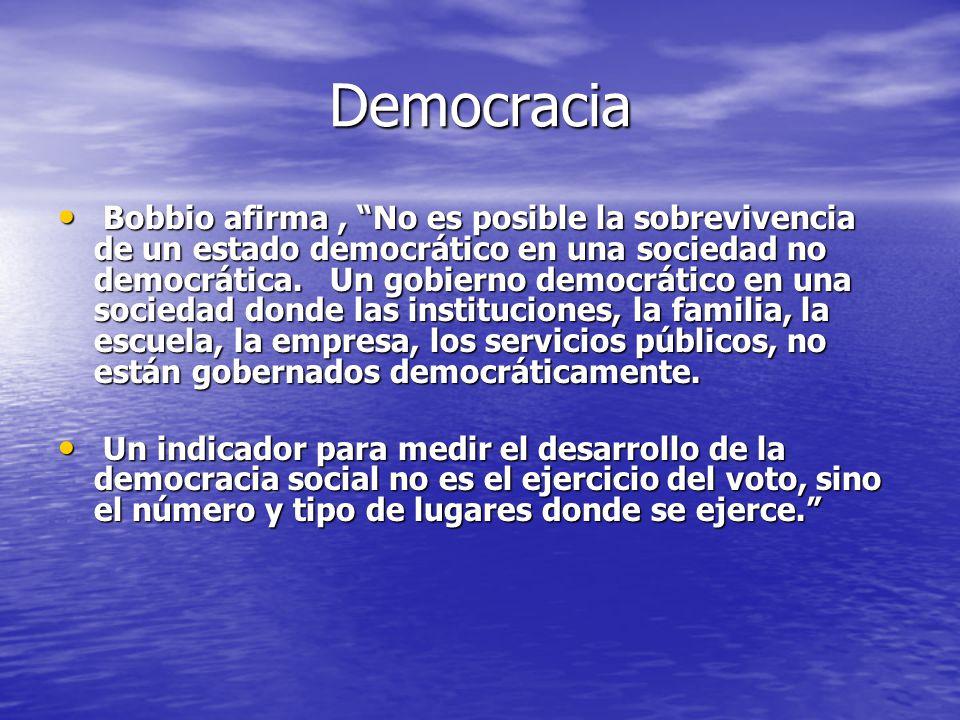Democracia Bobbio afirma, No es posible la sobrevivencia de un estado democrático en una sociedad no democrática. Un gobierno democrático en una socie