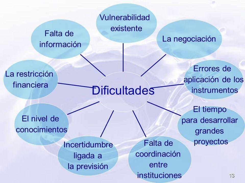13 Falta de información La restricción financiera El nivel de conocimientos Incertidumbre ligada a la previsión Falta de coordinación entre institucio