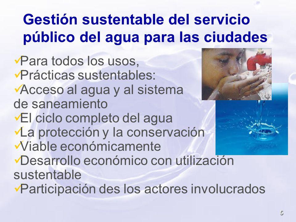 Para todos los usos, Prácticas sustentables: Acceso al agua y al sistema de saneamiento El ciclo completo del agua La protección y la conservación Via